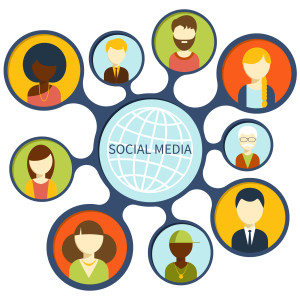 Social media avatar network connection concept. People in a social network. Concept for social network in flat design. Globe with many different peoples faces