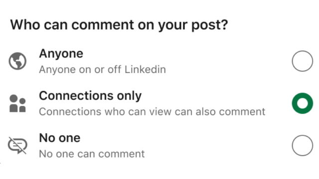linkedin-lets-members-choose-who-can-comment-on-their-posts