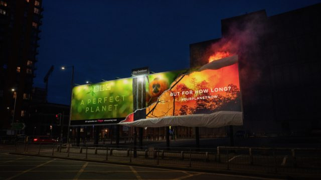 the-bbc-set-fire-to-its-own-billboard-for-'a-perfect-planet,'-highlighting-deforestation